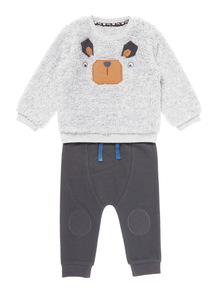 Grey Two Pack Bearface Sweat and Jog Set (0-24 months)