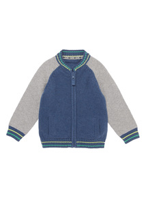 Navy Knitted Bomber Jacket (0 - 24 months)