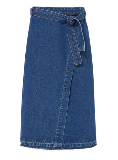 Blue Denim Wrap Skirt