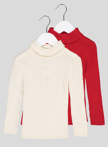 Ribbed Roll Neck Jumper 2 Pack (9 months- 6 years)