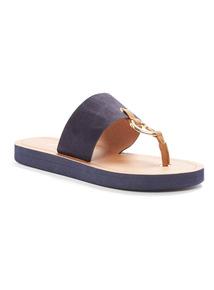 Navy Metal Toe Post Flip Flops