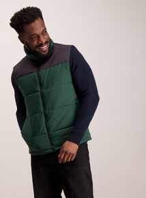 Thermolite Green & Black Colour Block Padded Gilet