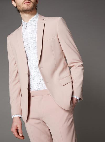 Online Exclusive Pink Slim Fit Suit Jacket