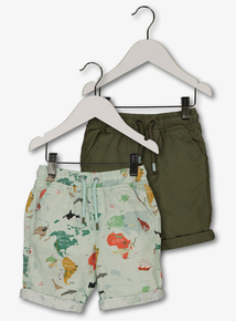b187b8a308c Green Map Print   Plain Shorts 2 Pack (9 months - 6 years)