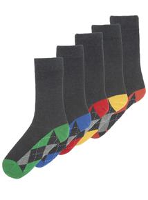 Stay Fresh Grey Argyle Heel Patterned Socks 5 Pack