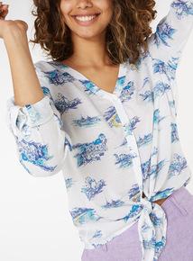 Beach Scene Printed Tie-Front Shirt