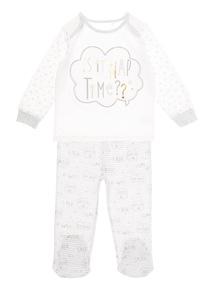 White Slogan Print Pyjamas (0-12 months)