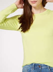 Lime Long-Sleeved Plain Top
