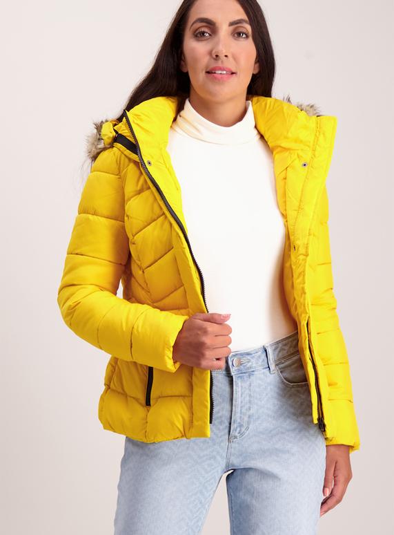 08c8eab7bf04 Womens Yellow Sporty Padded Coat