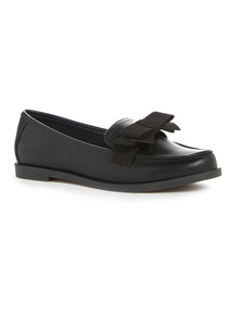 Black Bow Detail Slip-On Loafers