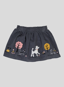 Grey Puppy Walk Appliqué Skirt (9 months - 6yrs)