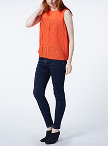 Red Pleated Plain Top