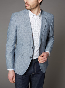 Blue Textured Linen Suit Jacket