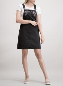 Black Denim Embroidered Pinafore Dress