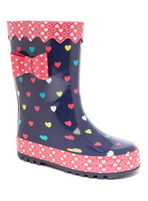 Heart Print Welly (6 Infant - 2)