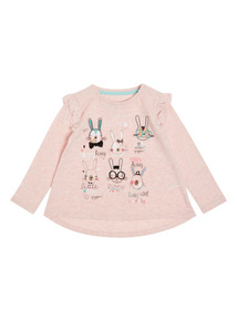 Pink Bunny Embroidered Tee (9 months-6 years)
