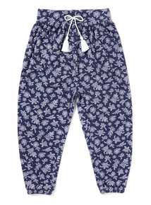 Navy Jersey Printed Harem Trousers (3-14 years)
