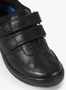Black Leather Twin One-Touch Strap Shoe