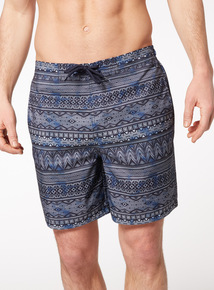Navy Geographic Print Board Shorts
