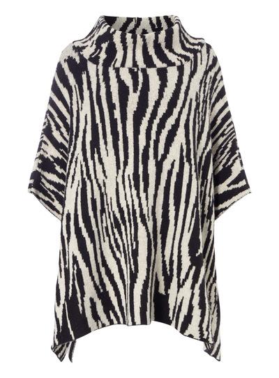 77cb60a91d Womens Black Zebra Print Poncho