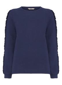 Navy Frill Sleeve Sweater