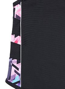 Black Printed Side Swimsuit (4-14 years)