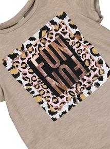Oatmeal 'Fun' Leopard Print T-Shirt