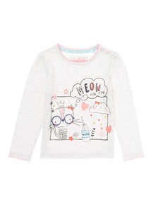 Oatmeal Crazy Cat Meow Printed Tee (0-24 months)