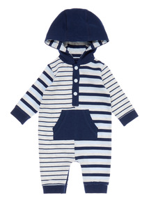 Boys Grey Striped Hooded Romper (0-12 months)
