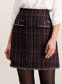 Pink Check Fringed Hem Mini Skirt