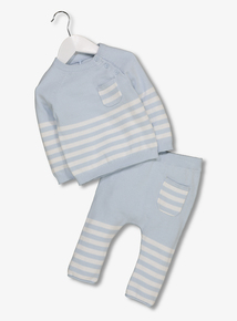 Blue Striped Knitted 2 Piece Set (0-24 Months)