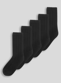 Boys Black Ribbed Socks 5 Pack