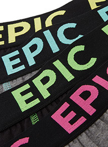 5 Pack Black and Grey Epic Trunks (4-14 years)