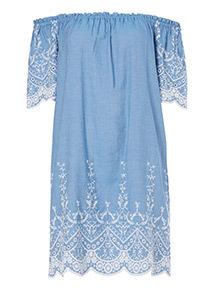 Denim Bardot Neck Tunic Dress