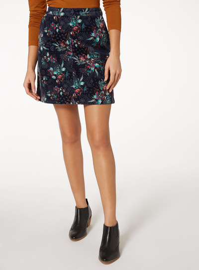 Multicoloured Printed Cord Mini Skirt