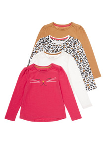 Multicoloured Catitude Tops 4 Pack (9 months - 5 years)