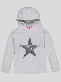 Grey Star Sequin Hoodie (3- 14 Years)