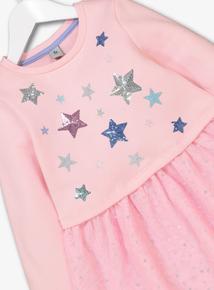 Pink & Grey Sequin Sweatshirt Dress & Leggings Set (9 months -6 years)