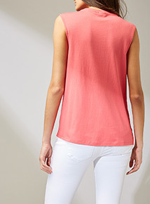 Coral Pleated Panel Jersey Top