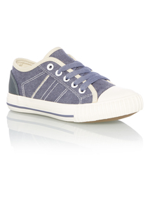 Boys Navy Denim Washed Canvas Shoes
