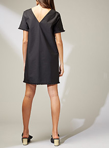 Premium Black Embroidered Shift Dress