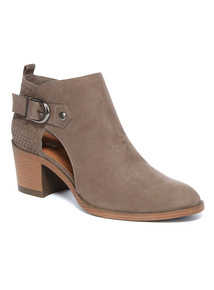 Grey Laser Mid Heel Ankle boots