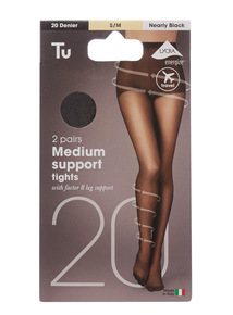Black 20 Denier Medium Support Tights 2 Pack