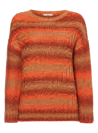 Womens Orange Striped Cable Knit Jumper Tu clothing