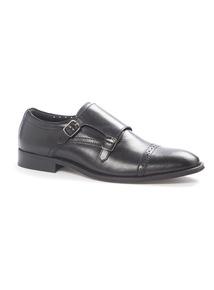 Black Leather Monk Shoes
