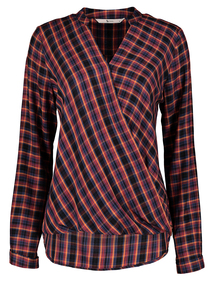 Multicoloured Chequered Wrapped Blouse