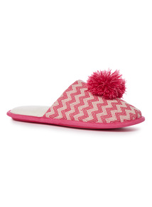 Pink Popsicle Woven Pompom Mule Slippers