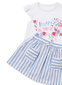 Multicoloured Woven Skirt and T-Shirt Set (0-24 months)