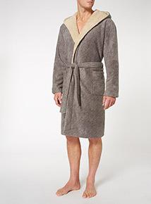 Grey Super Soft Marl Dressing Gown