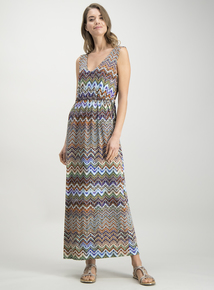 34c3e32dfd Multicoloured Chevron Print Maxi Dress